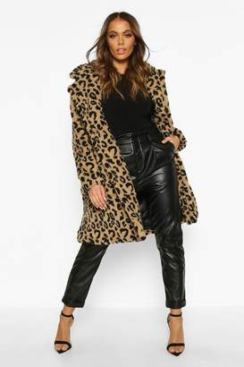 boohoo Leopard Printed Teddy Fur Coat
