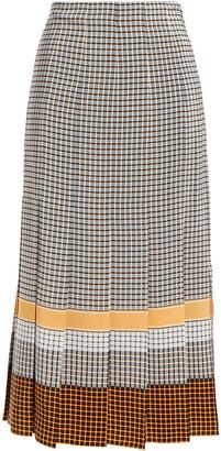 Joseph Pleated Printed Silk Crepe De Chine Midi Skirt