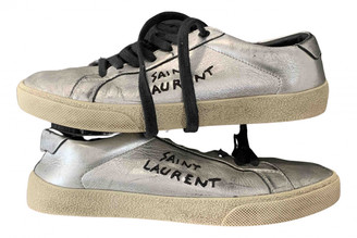Saint Laurent SL/06 Silver Leather Trainers