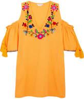 Sensi Studio - Cold-shoulder Embroidered Crinkled-cotton Mini Dress - Yellow