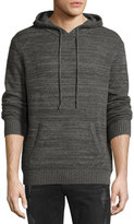 Neiman Marcus Cashmere Hooded Sweater, Gray Marbled Combo