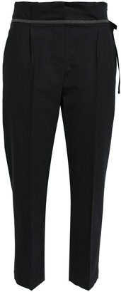 Brunello Cucinelli Bead-embellished Cropped Virgin Wool-blend Tapered Pants