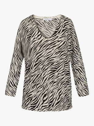 Gerard Darel Delfina Zebra Print Wool Jumper, Black/Multi