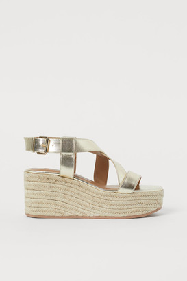 H&M Wedge-heeled Sandals - Gold