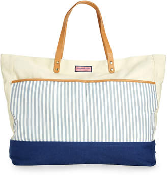 Vineyard Vines Seersucker Pocket Canvas Tote Bag