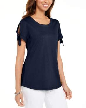 Karen Scott Tie-Sleeve T-Shirt, Created For Macy's