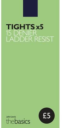 John Lewis & Partners 15 Denier Ladder Resist Tights, Pack of 5