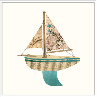 Jonathan Bass Studio Paper Cutout Boat C, Decorative Framed Hand Embellished Canvas