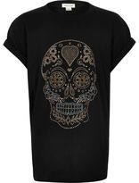 River Island Girls black heatseal skull T-shirt