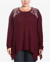 Eyeshadow Trendy Plus Size Embroidered Thermal Top