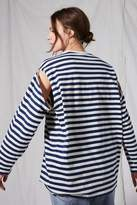 Boutique **stripe cut out t-shirt
