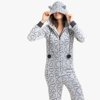 La Redoute Collections Heart Print Onesie with Cat Hood