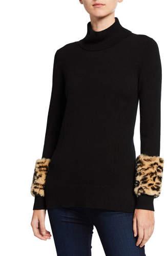 Neiman Marcus Leopard Fur Cuff Cashmere Turtleneck Sweater