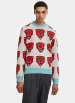 Gucci Tiger Face Knit Sweater In Beige