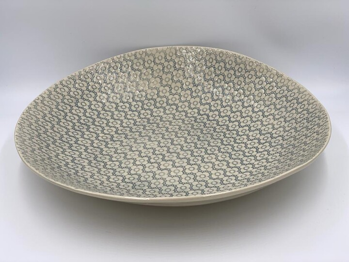 Thumbnail for your product : Wonki Ware - Extra Large Serving Platter In Duck Egg Mixed Patterns - ceramic | 46cmx43cm | duck egg