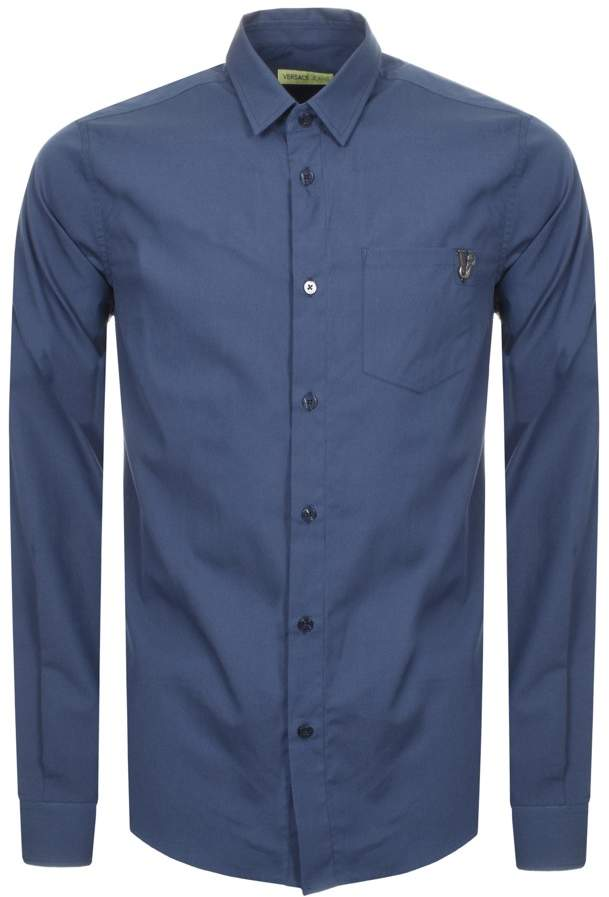 Versace Slim Fit Pocket Shirt Blue