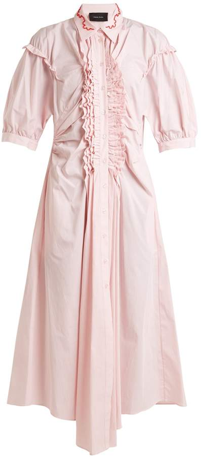 Simone Rocha Ruffle-trimmed striped cotton midi dress