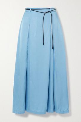 REJINA PYO Malia Belted Pleated Satin-twill Midi Skirt - Sky blue