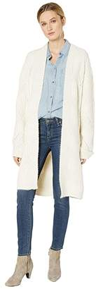 Miss Me Chunky Cable Knit Cardigan (Ivory/White) Women's Clothing