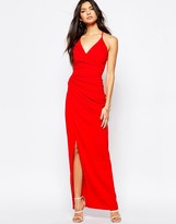 Lipsy Fleur East By Strappy Cage Back Ruched Maxi Dress