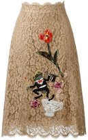 Dolce & Gabbana embroidered floral lace skirt