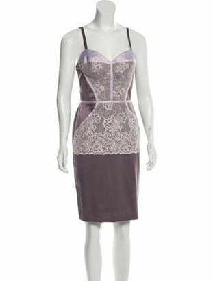 Just Cavalli Lace-Trimmed Knee-Length Dress w/ Tags Purple