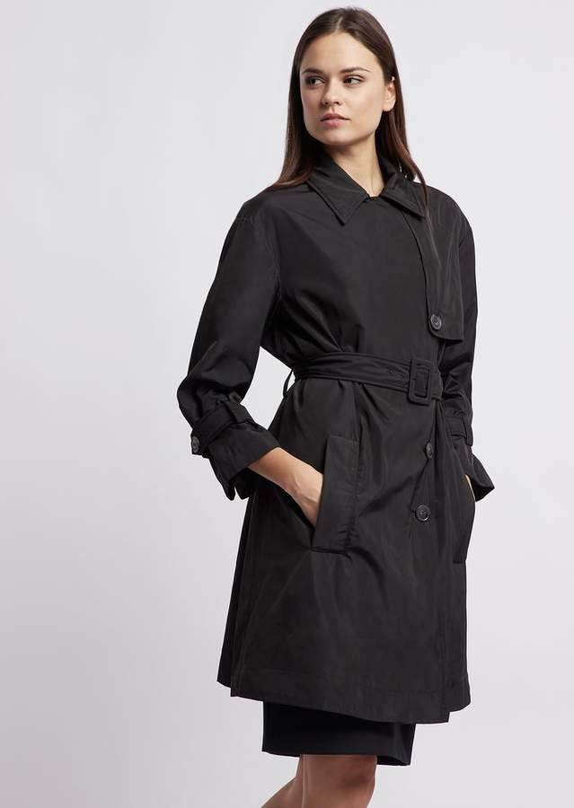 960588f051 Double Poly Taffeta Trench Coat With Belt