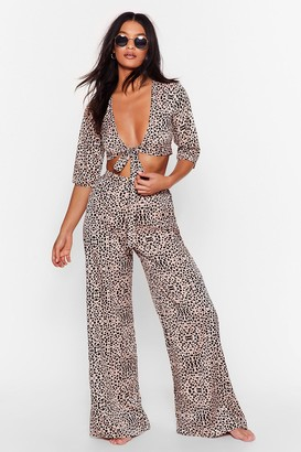Nasty Gal Womens Tie and Spot Me Animal Cover-Up Trousers - Brown - 6
