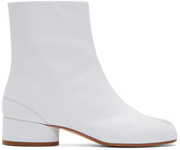 Maison Margiela White Low Heel Tabi Boots