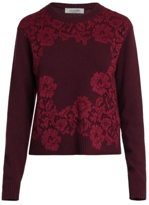 Valentino Maglia Lace Wool & Cashmere Sweater