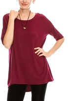 B-Sharp Collection Women's Basic Tunic Short Sleeve Top Heavy Rayon Spandex Boat Neck 1/2 Sleeve.