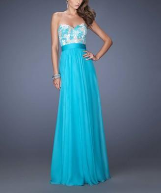 La Femme Women's Special Occasion Dresses Aquamarine - Aquamarine Floral Applique Chiffon Strapless Gown - Women