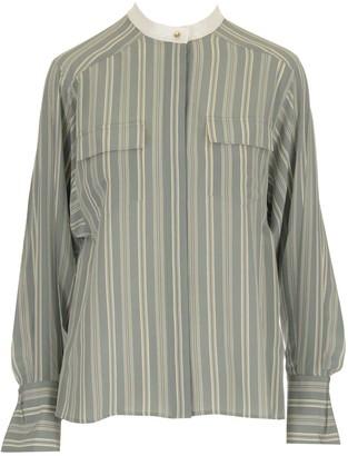 Chloé Striped Mandarin Collar Shirt