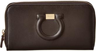 Salvatore Ferragamo Gancini Leather Zip Around Wallet