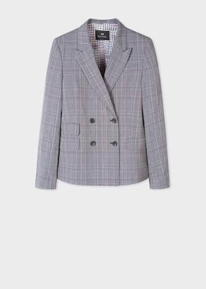 Paul Smith Women's Light Grey Check Wool-Blend Double-Breasted Blazer