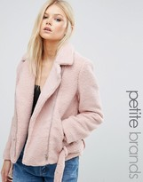 Missguided Petite Exclusive Shearling Biker Jacket