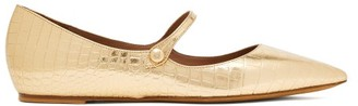 Tabitha Simmons Hermione Croc-embossed Leather Mary-jane Flats - Womens - Gold
