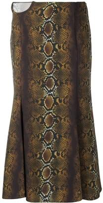 Versace Snake-Print Mid-Length Skirt
