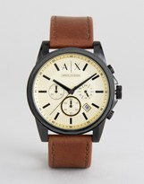 Armani Exchange Ax2511 Chronograph Leather Watch In Brown