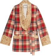 Gucci Check wool jacket with embroidery