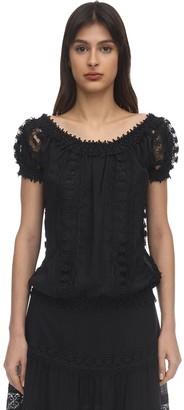 Charo Ruiz Ibiza Maca Embellished Cotton Lace Top