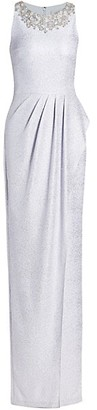Teri Jon by Rickie Freeman Shimmer Beaded Collar Gown