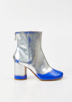 Maison Margiela silver / blue metallic mid ankle bootie