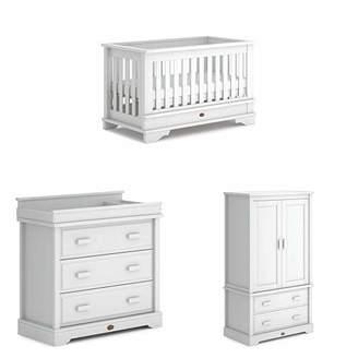 Eton Boori Convertible Plus 3 Piece Nursery Room Set, Wood, Barley White