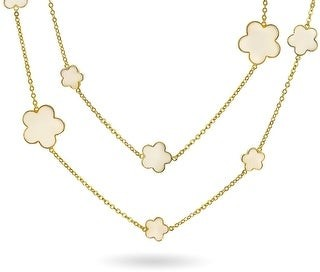 Bling Jewelry White Cream Clover Flower Long Gold Plated Chain Wrap Layer Necklace - 36