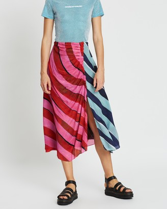 House of Holland Stripe Gathered Midi Skirt