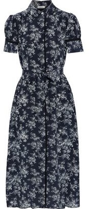 Jason Wu Belted Floral-print Silk Crepe De Chine Midi Shirt Dress