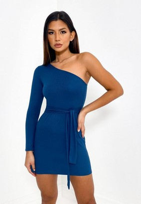Missguided Teal Rib One Shoulder Belted Mini Dress