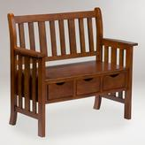 Cost Plus World Market Oak Finish Fairview 3-Drawer Bench