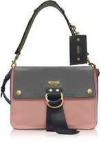 Moschino Color Block Leather Flap Shoulder Bag